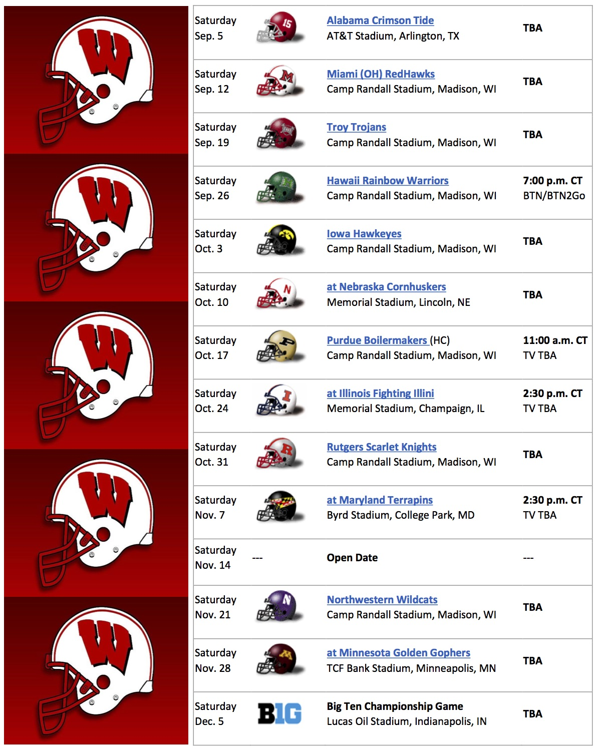 2015 football schedule - wisconsin badgers | wifs - wisconsin's 57