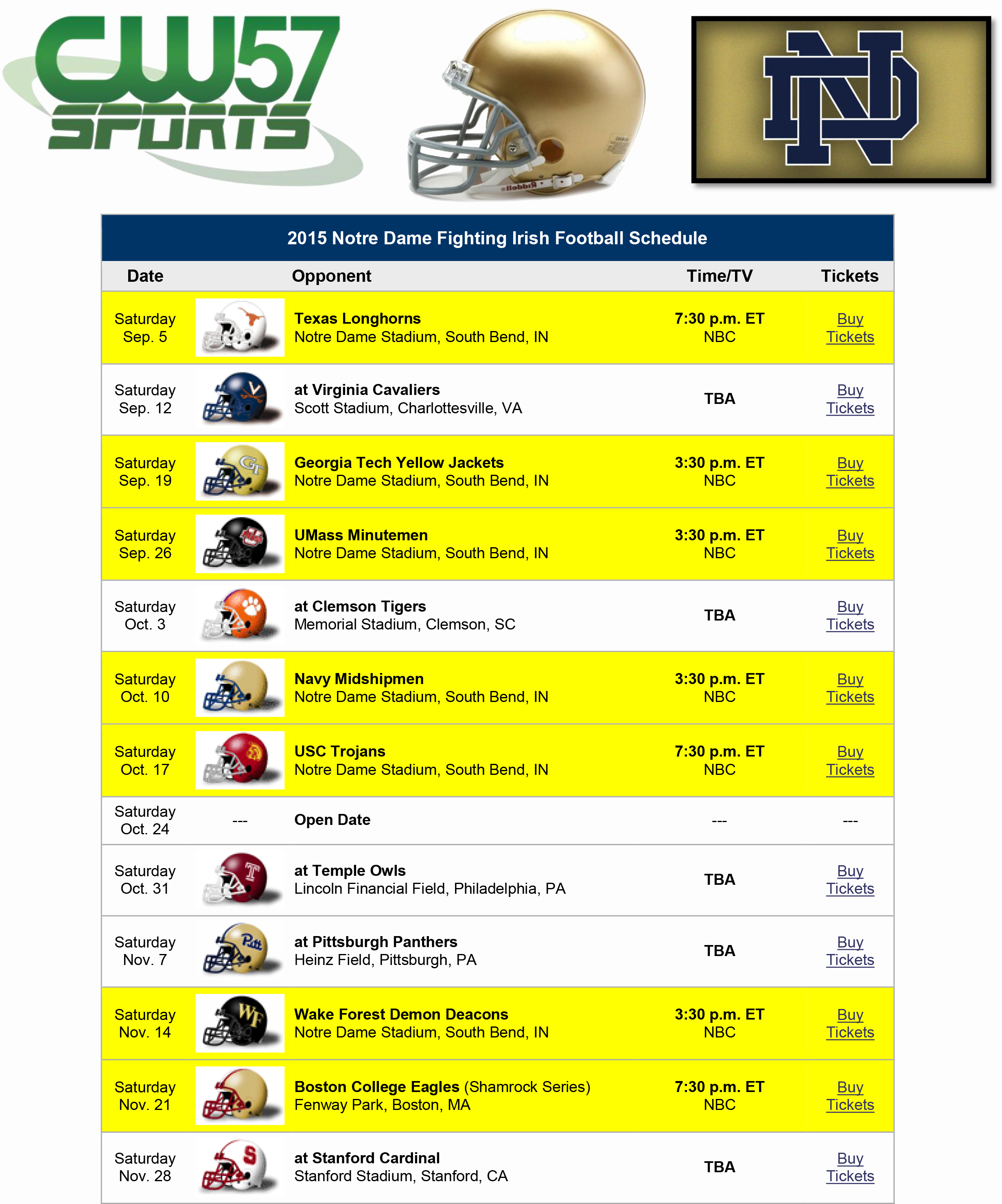2015 notre dame fighting irish football schedule helmet | wifs